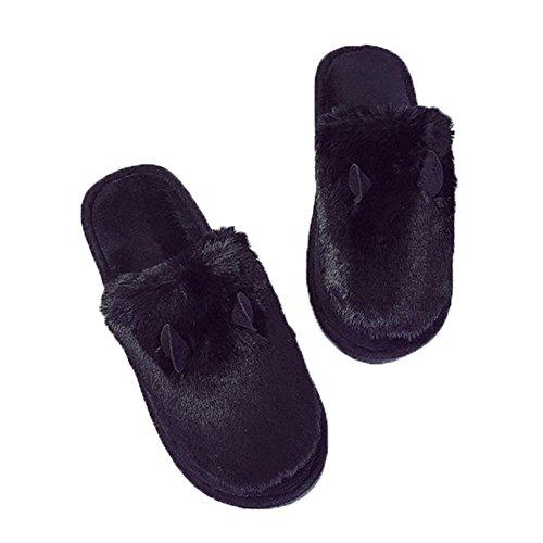 Cybling Invierno Lindo Zapatilla Borrosa Antideslizante Cómodos Zapatos De Casa Para Mujer Negro