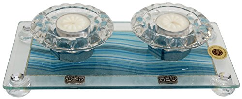 Ultimate Judaica Candle Stick With Tea Light Applique - Ocean Blue - Tray 11