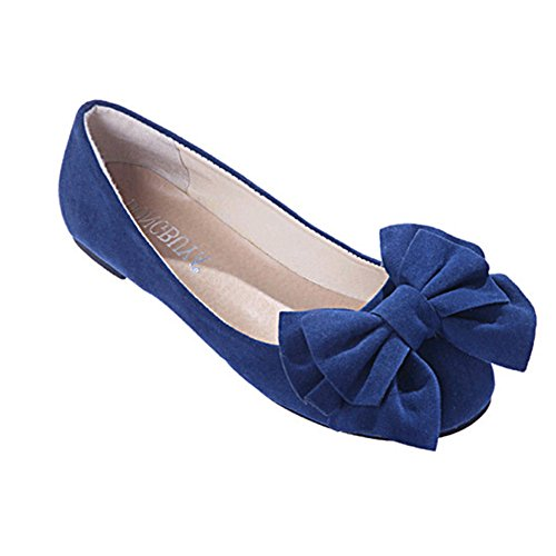 Women's Round Toe Flat Loafers Sweet Casual Shoes with Bow Blue - 6