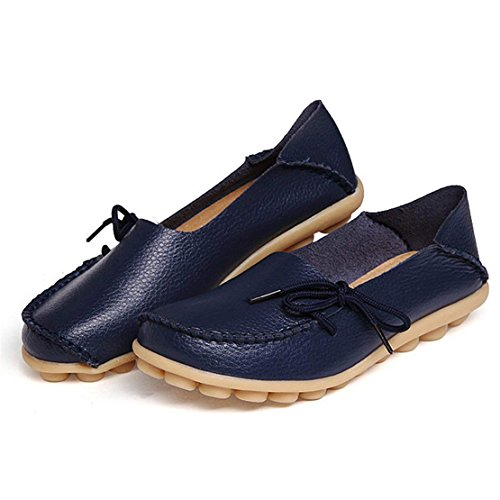 Slip Leather Blue Shoes Loafers Driving Dark On Women's Flats WYSBAOSHU Moccasins Casual wI7qaFW