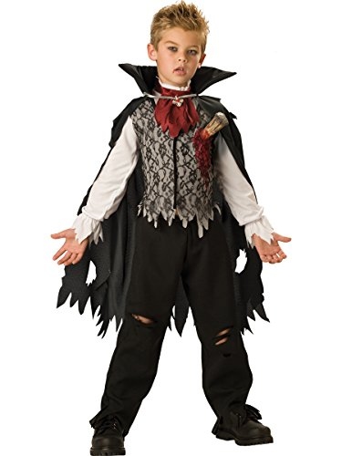 Vampire Stake Costume (InCharacter Costumes, LLC Boys 2-7 Vampire B. Slayed Cape Set, Black/White, Small)