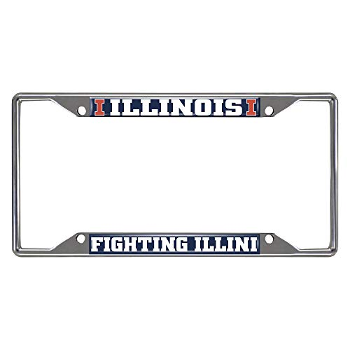 FANMATS NCAA Illinois Illini License Plate Framelicense Plate Frame, Team Colors, One -