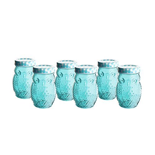 Blue Decorative Glass - Klikel Decorative Blue Colored Owl Vintage Jelly Jam Jars Canisters - Glass Containers - Drinking Glass With Blue Gingham Lids - Set of 6