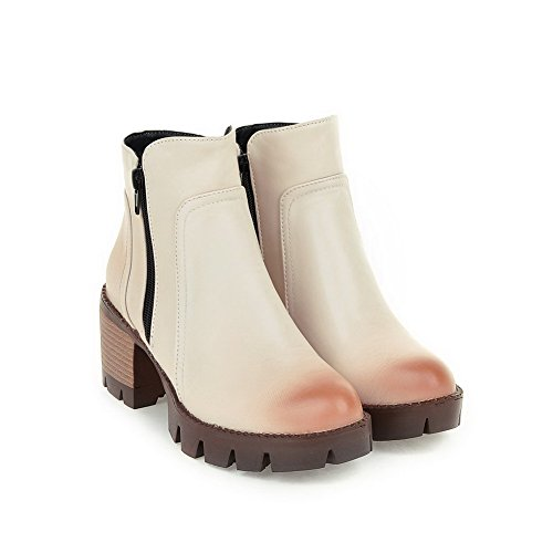 Zipper Heels Toe Kitten WeiPoot Round Top Women's Solid Low Beige Boots Closed 4xwZnzT6