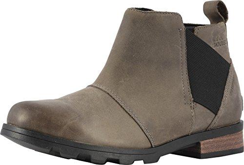 Sorel - Women's Emelie Chelsea Waterproof Ankle Boots, Quarry, Black, 8 M US
