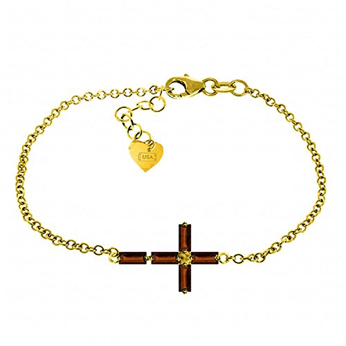 ALARRI 1.15 Carat 14K Solid Gold Horizontal Cross Garnet Bracelet Size 8.5 Inch Length by ALARRI