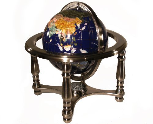 Unique Art 25cm Tall Table Top Blue Lapis Ocean Gemstone World Globe with 4 leg Silver stand by Unique Art Since 1996