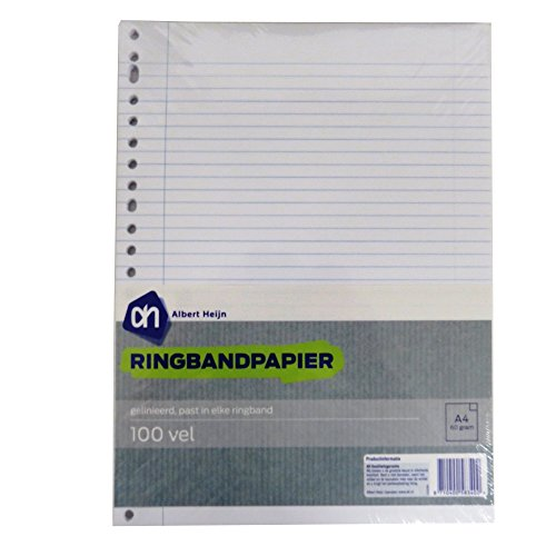 Albert Heijn A4+ Ringbinder Refill Loose Writing Paper - 100 Sheets - 23 Punched Holes