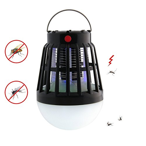 Eletek Bug Zapper & Camping Lantern, 2 In 1 Solar Night LED Light Lamp & Mosquito Zapper Repellent| Rainproof, Rechargeable via USB or Solar, Portable| For Indoor & Outdoors, Home & Traveling