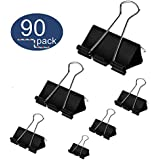 Binder Clips 90PCS Paper Clamps 6 Assorted Sizes Large Medium Small, OUHL Foldback Clips for Office Schools Kitchen Home Usage (Black)