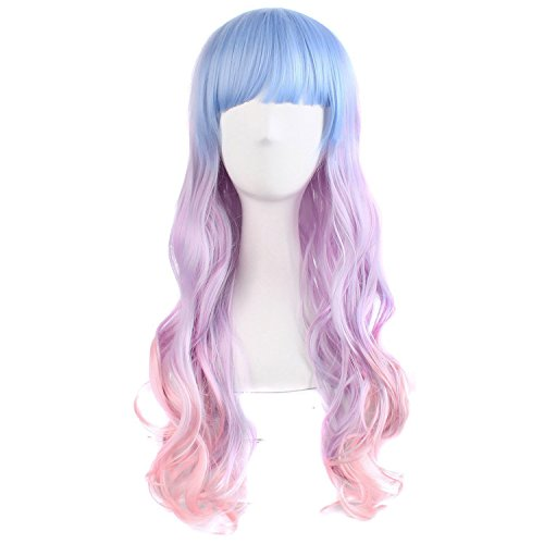 "MapofBeauty 28"" Wavy Multi-Color Lolita Cosplay Wig Party Wig (Light Blue/ Light Purple/ Pink)"