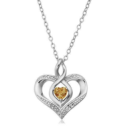 Kooljewelry Sterling Silver Diamond Accent November Birthstone Heart Pendant Necklace (18 inch)
