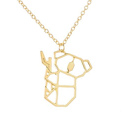 MIXIA Cute Cartoon Koala Pendant Bear Necklace Koala Bear Animal Jewelry (gold) (Bear Hollow)