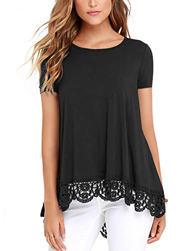DOSWODE Womens Tops Short Sleeve Lace Trim O-Neck A-Line Tunic Blouse Shirts Black S ()