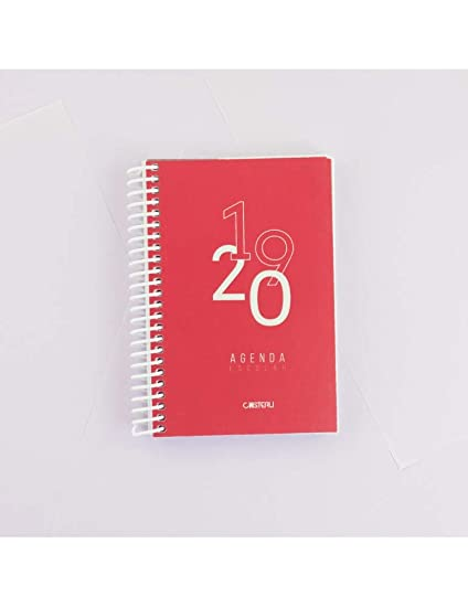 Casterli - Agenda Escolar 2019-2020 Basic Edition - Día Página, Tamaño A6 (Rojo)