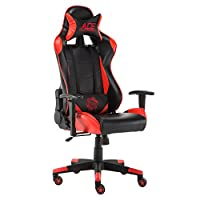 Baishitang Racing Gaming Chair Leather Swivel Ergonomic High-Back Adjustment Office Computer Chair with Free Headrest and Lumbar Cushion,Red