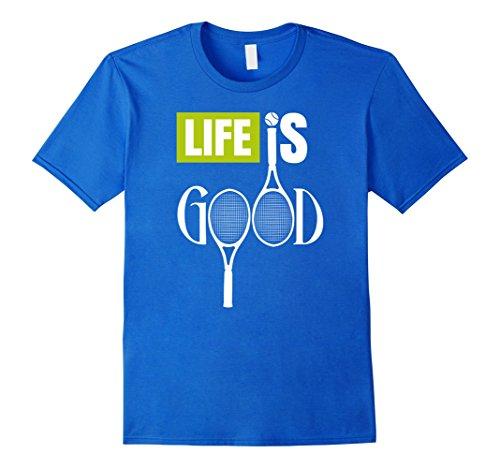 Mens Life Is Good Racket Tennis Themed Words T-Shirt Sport Gift XL Royal Blue