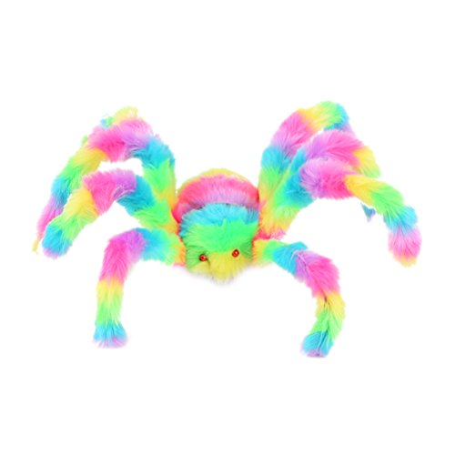 LUOEM 50cm Colorful Spider Toy Stuffed Animal Plush Toy for Halloween Decorations Props - Halloween Party Scary Decoration