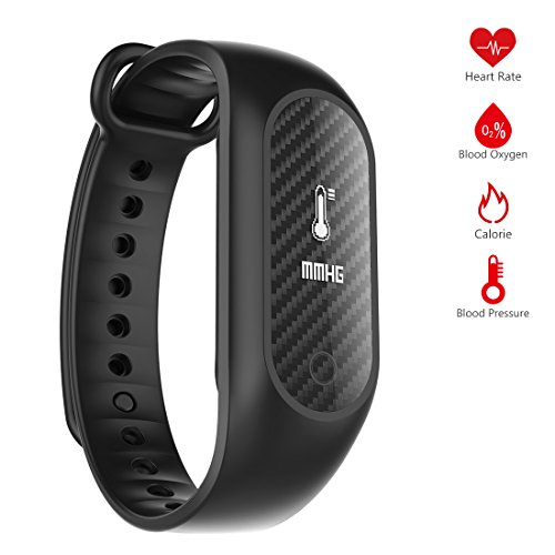 0.86 Inch OLED IP67 Waterproof Silicone Bluetooth Bracelet Smart Wristband with Multi-functional Blood Oxygen / Blood Pressure / Heart Rate Monitor / Fitness Tracker by Dreamsoule - Black