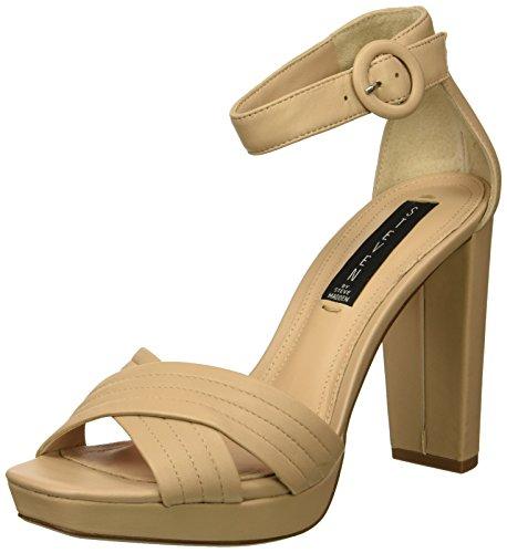 STEVEN by Steve Madden Women's Ravena Heeled Sandal Nude Leather 6 M US