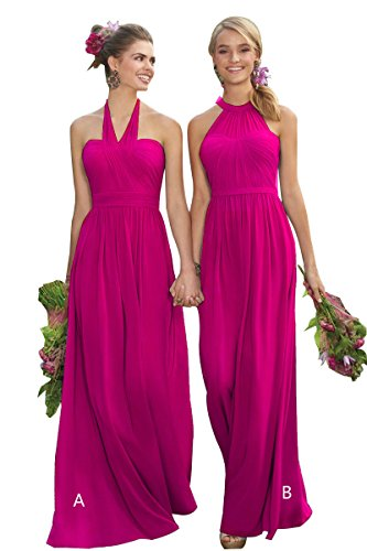 Bridesmaid Dress Long Chiffon Pleated A-line Prom Formal Evening Dresses for Women