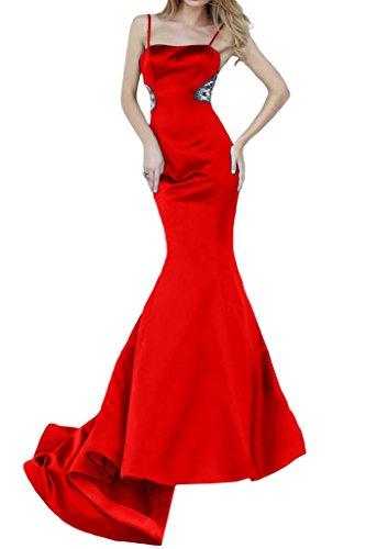 polsini vestimento Rosso Lunga spalline da strette con Satin Bete Ivydressing donna dell'abito Mermaid un'ampia aRvRwq7