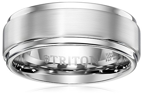 Triton Men's Tungsten 9mm Step Edge Comfort Fit Wedding Band, Size 10.5 by Amazon Collection
