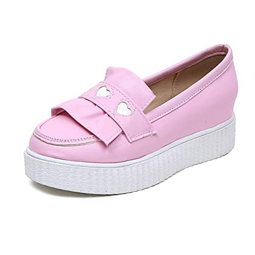 Head Round Shallow Flat Casual Mouth Shoes Pink Women's qRA1T