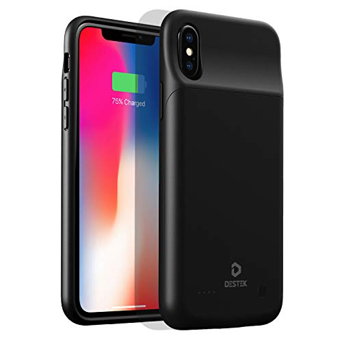 DESTEK Charging Case for iPhone X, 3200mAh Slim Battery Case for iPhone X/Xs (5.8-inch) Protective Charger Cover Extended Battery Pack, Compatible w/Wire Headphones