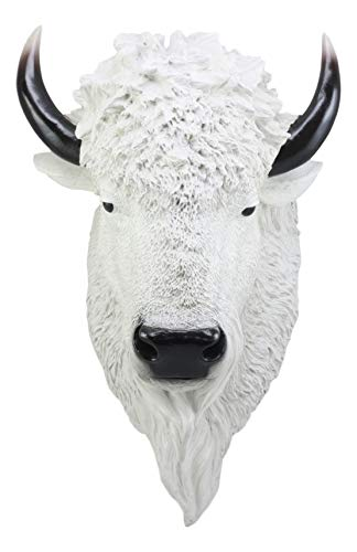 "Ebros Sacred Lightning Large White Buffalo Wall Decor 18"" Tall Faux Buffalo Bison Head Taxidermy Wall Art"