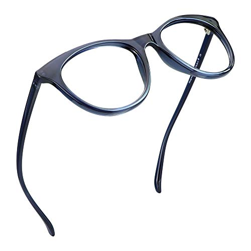 LifeArt Blue Light Blocking Glasses, Anti Eyestrain, Computer Reading Glasses, Gaming Glasses, TV Glasses for Women Men, Anti Glare (Clear Navy, No Magnification)