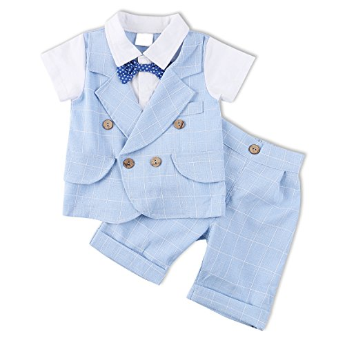 Baby Boy Outfit, 2PCS Toddler Short Sleeve Clothes Set with Plaid Jacket & Pants (Baby Santa Outfit For Boy)