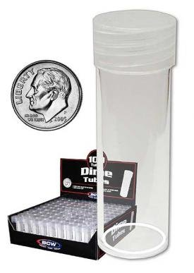 COIN STORAGE TUBES, round clear plastic w/ screw on tops for DIMES (Quantity of 25 tubes)