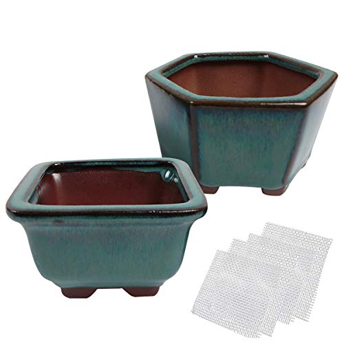 kilofly Happy Bonsai 2pc Mini Glazed Pots Value Set + 4 Soft Mesh Drainage Screens