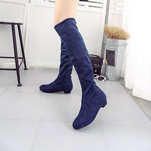 En Les Plates Bottes D'automne Femmes Hiver Haute Longues De Bleu Courtes Chaussures Femmes Daim transer® Jambe 8xgUq