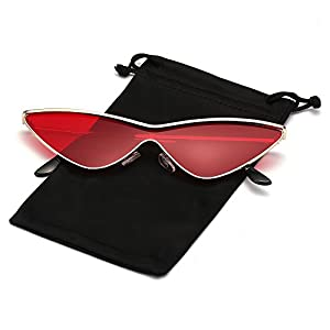 Cateye Sunglasses for Women and Men Metal Triangle Frame Retro Vintage Mod Shades Tinted Color Lens, Gold Frame with Ruby Red Lens