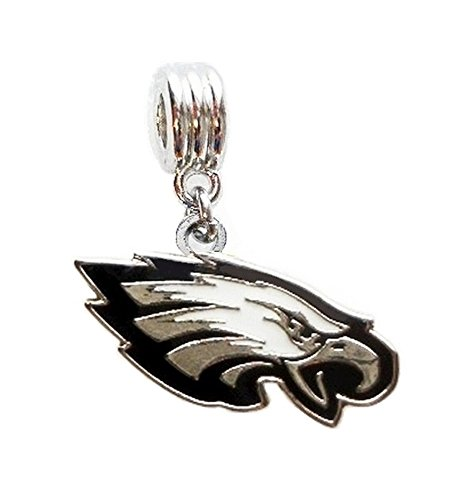 EAGLES FOOTBALL TEAM CHARM SLIDE PENDANT FOR NECKLACE EUROPEAN CHARM BRACELET (Fits Most Name Brands) DIY ETC Philadelphia Eagles Charm