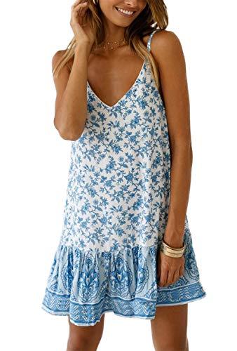 HZSONNE Women's Sleeveless Floral Print Empire Waist Backless Flowy Boho Mini Tank Dress Strappy A Line Beach Sundresses