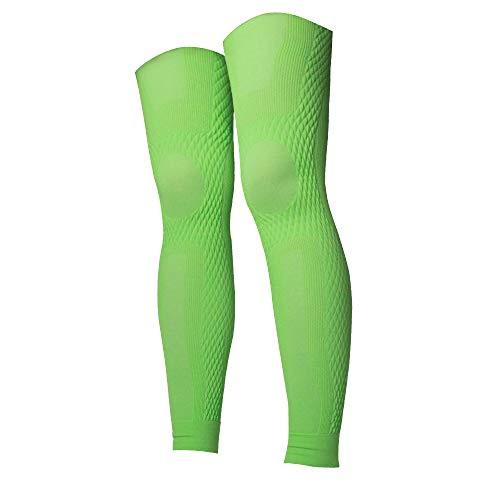 UV-Protection Cycling Thigh Compression Sleeves | Fatigue Reduce and Pain Relieve | Calf, Shin Splint and Thigh Muscle Support | Men and Women (Green, M-L)