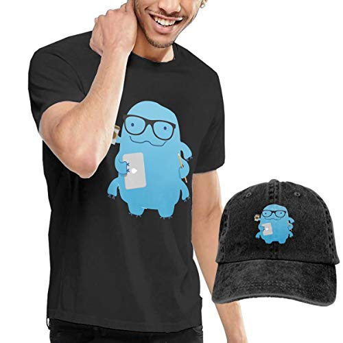 Goldsmith Sally Working Water Bear with Laptop Coffee Big Boys Short Sleeve T-Shirt and Hat Costume Set ()