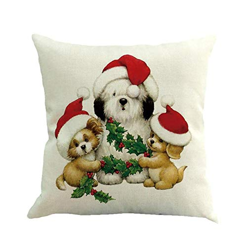Christmas Pillows Decorative Throw Pillows,Merry Christmas Cases Linen Sofa Cushion Cover Home Decor Pillow Core ()
