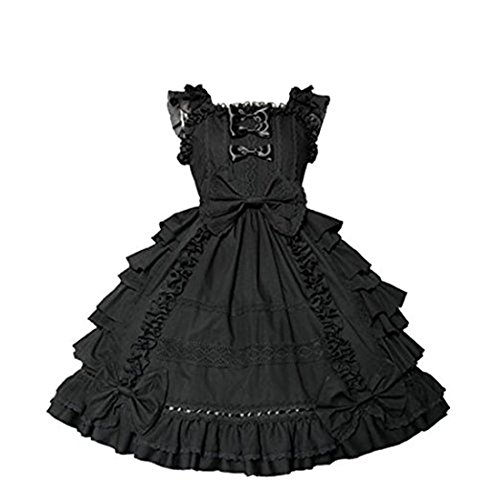 Nuoqi Court Lolita Dress Anime Lace Cosplay Princess Black Dress XXL Size
