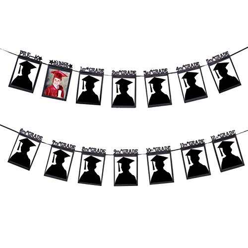 Juvale Photo Garland Banner - Preschool-12th Grade, High School Graduation Party Supplies, Holds 5x7 Pictures, 10 Feet]()