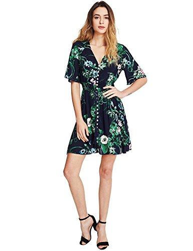 multicolor A Split Boho up green Milumia Women's Dress Floral Button Print Flowy Party wPvwSfqn5x