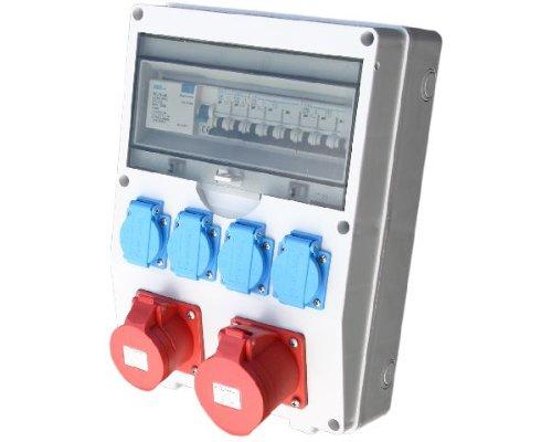 Wandverteiler CEE + 1x16A + 1x32A + 4x230V FI Stromverteiler Baustromverteiler Feuchtraumverteiler Komplett AWVT8 kabel-licht