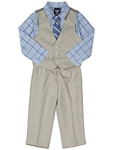 Izod Toddler Boys' Four Piece Formal Vest Set, Light Nafpak Blue, 3T