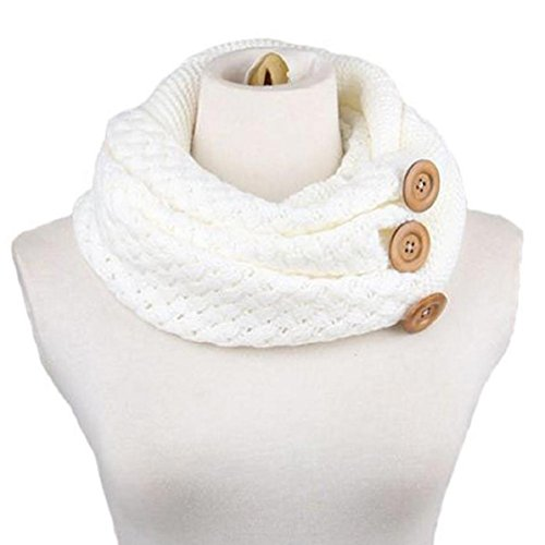 (Ikevan Hot Selling Newset Women Lady Neckerchief Scarves Winter Warm Two Circle Cable Knitting Wool Blend Cowl Neck Scarf (White))