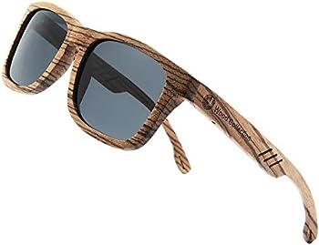 Skadino Unisex Bamboo Sunglasses with Polarized lenses