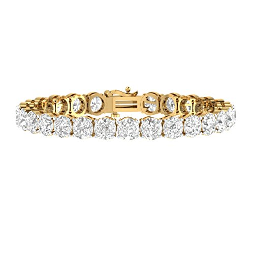 Solitaire Yellow Bracelet (10K Yellow Gold Women's Classic Tennis Bracelet with Swarovski Cubic Zirconia Solitaires, 7 inches)
