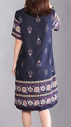 Midi Dress Blue Print Short Jaycargogo Floral Women Sleeve Linen Dress T04n4P